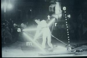 """Poema Acção """" Light Pen """", 1984, performance: Foto-Poema-Gráfico e Vídeo, PAL, cor, som, 4:3, 5'55'',esta performance teve lugar na praça de Vila Nova de Cerveira durante a IV Bienal Internacional de Arte de Vila Nova de Cerveira_1984. Elenco: musica ao vivo de José Oliveira Registo camera: Alexandre Azinheira. in: """" POEMOGRAFIAS """" ,1985 na publicação que acompanhava a """", Exposiçao itinerante de Poesia Visual 1985, página 79.© silvestre pestana"""
