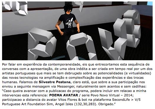 "POEMA AVATAR serie Povo Novo Virtual 2014"" Momento"